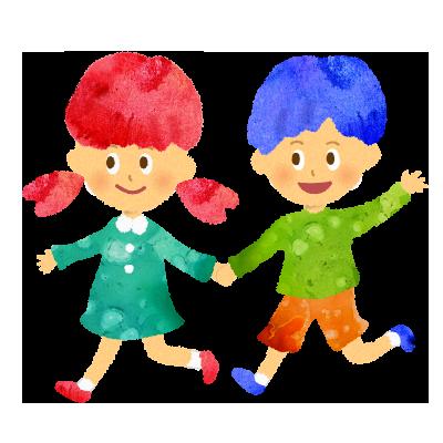 フリー素材;楽しそうに走る女の子と男の子のイラスト。