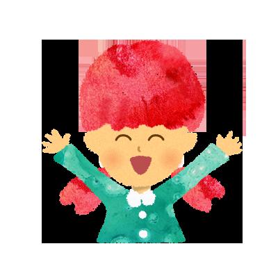 【無料素材】わーい!うれしい!バンザイをする女の子のイラスト