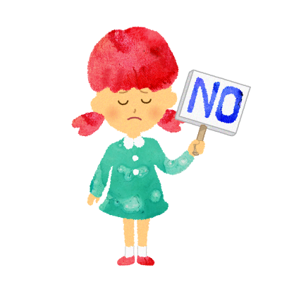 無料素材:NOプレート(立て札)を持つ女の子のイラスト
