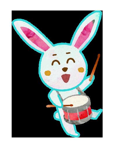 【無料素材】小太鼓を叩くウサギのイラスト