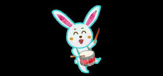 太鼓を叩くウサギのキャラクター