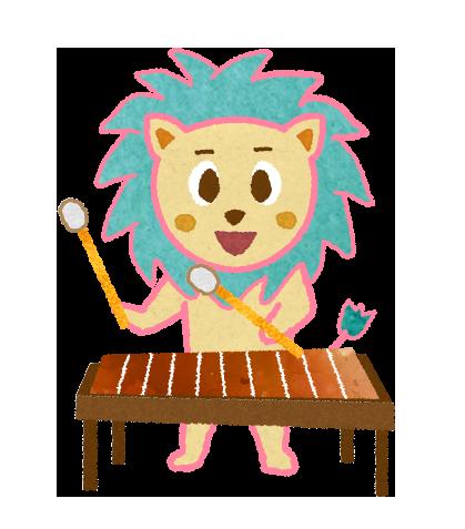 【無料素材】木琴を演奏するライオンのイラスト