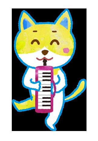 【無料素材】ピアニカを演奏する猫のイラスト
