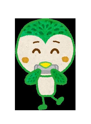 【無料素材】ハーモニカを吹く鳥のキャラクターのイラスト