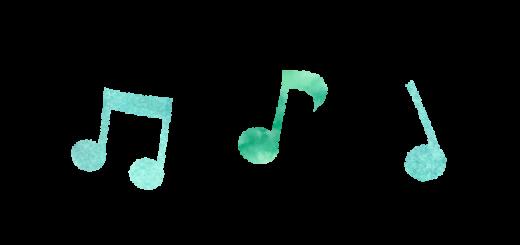 グリーンの音譜のイラスト