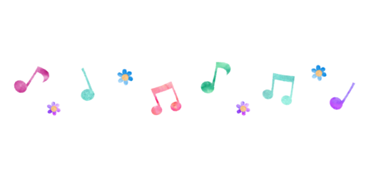 音譜とお花のパターンイラスト