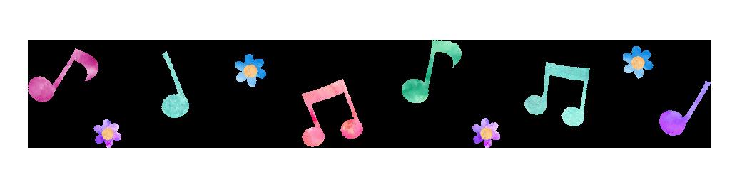 【無料素材】カラフルな音譜とお花のパターン