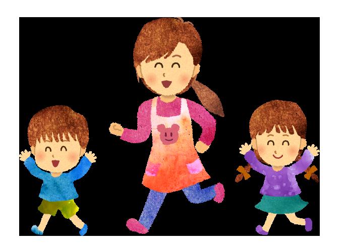 【無料素材】楽しそうに走る保育士と子供たちのイラスト