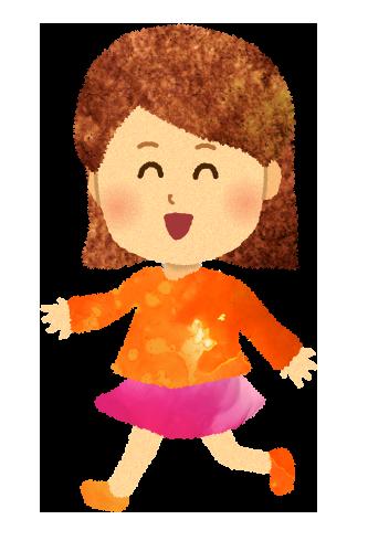 【無料素材】走る小さな女の子のイラスト
