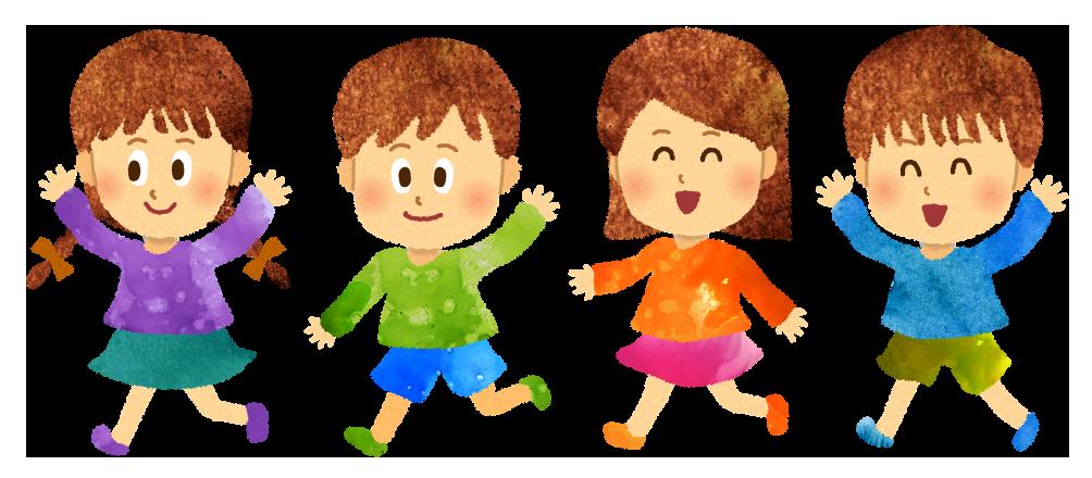 【無料素材】走る子供達のイラスト