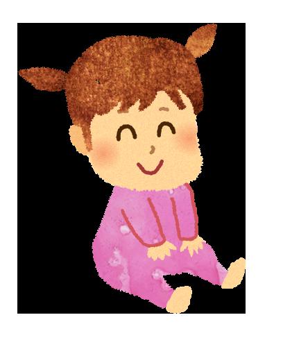 【無料素材】お座りする赤ちゃんのイラスト
