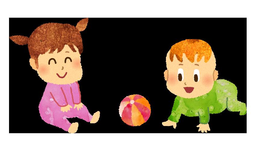 【無料素材】遊ぶ赤ちゃん達のイラスト
