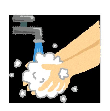 【無料素材】石けんで手を洗うイラスト