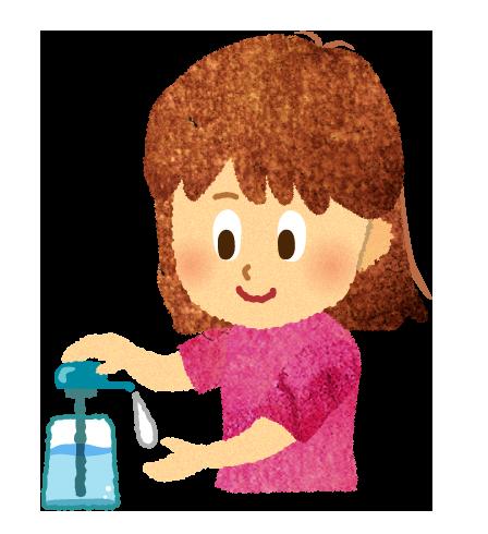 【無料素材】手のアルコール除菌をしている女の子のイラスト