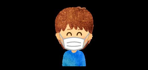 風邪予防・花粉症でマスクを付ける男の子のイラスト