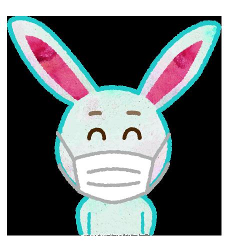 【無料素材】マスクを付けたウサギのイラスト