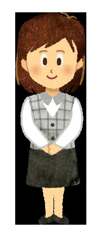 【無料素材】手を組む案内役の女性のイラスト