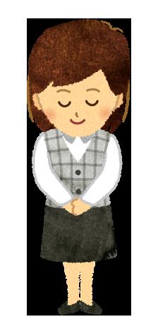 【無料素材】頭を下げる医療事務の女性のイラスト
