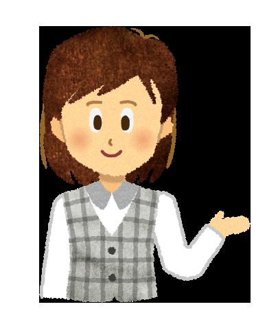 【無料素材】紹介する医療事務の女性のイラスト