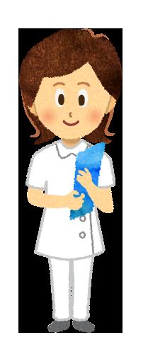 【無料素材】バインダーを持つ女性看護師のイラスト