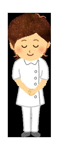 【無料素材】おじぎをする女性看護師のイラスト