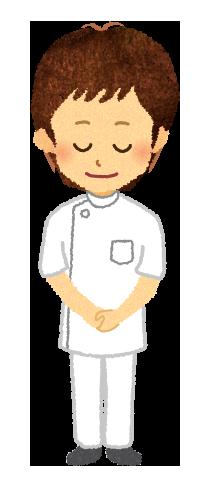 【無料素材】頭を下げる男性看護師のイラスト
