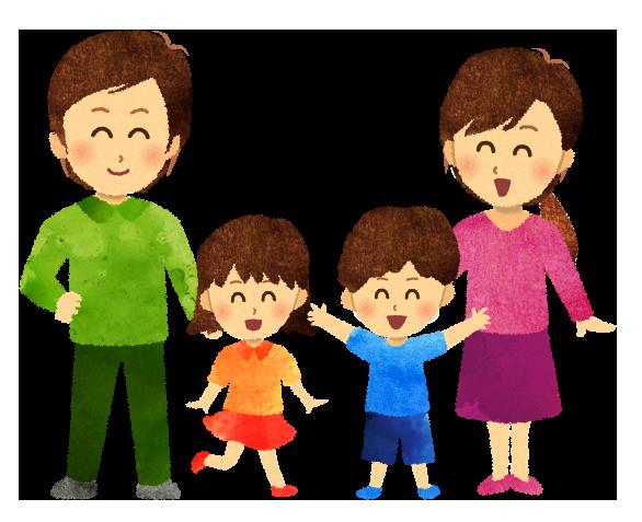 【無料素材】4人家族のイラスト