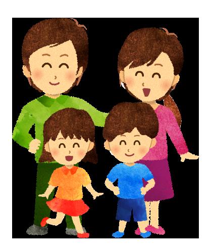 【無料素材】笑顔の4人家族のイラスト