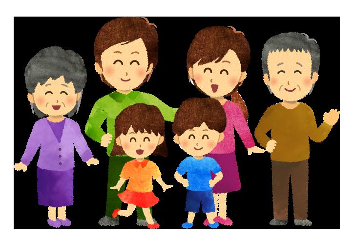 【無料素材】子供を囲んだ6人家族のイラスト