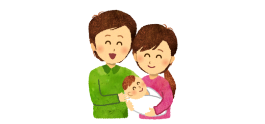 赤ちゃんが生まれて幸せな夫婦のイラスト