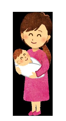 【無料素材】新生児を抱っこするママのイラスト