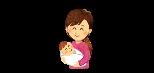 生まれたばかりの赤ちゃんを抱っこするママのイラスト