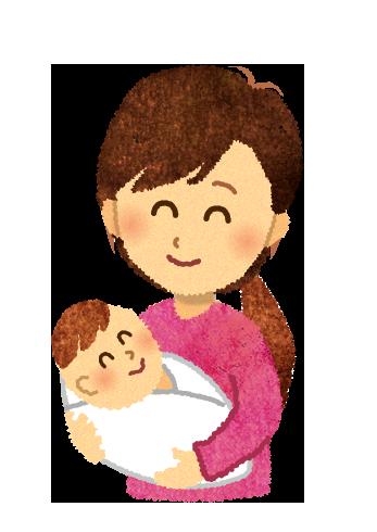 【無料イラスト】赤ちゃんを抱っこするお母さんのイラスト
