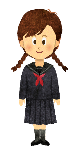 【無料素材】セーラー服の女子学生のイラスト