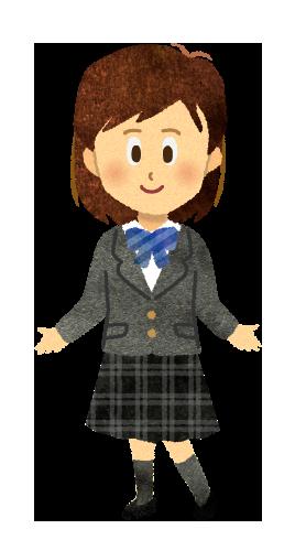 【無料素材】ブレザー姿の女子学生のイラスト