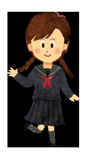 【無料素材】三つ編み女子中学生のイラスト
