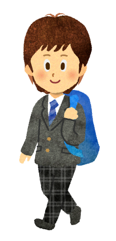 【無料素材】リュックを背負う男子高校生のイラスト