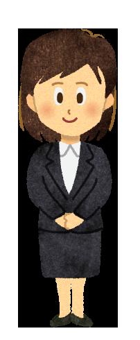 【フリーイラスト】手を組んで立つスーツ姿の女性