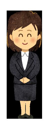 【フリー素材】笑顔のスーツの女性のイラスト