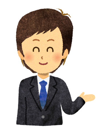 【無料素材】案内・プレゼンするビジネスマンのイラスト