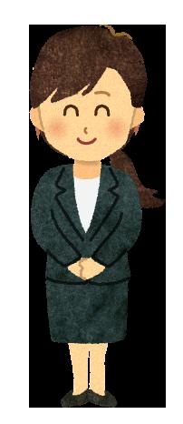 【無料素材】笑顔で出迎える女性営業マンのイラスト