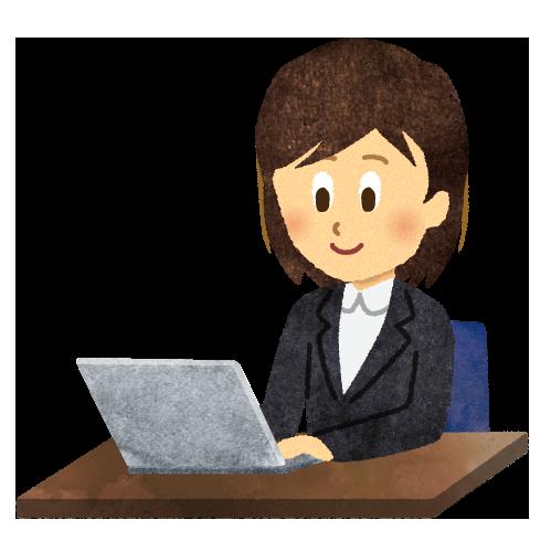 【無料素材】パソコンに向かう女性社員のイラスト
