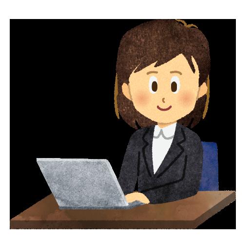 【無料素材】笑顔でパソコンを操作する女性のイラスト