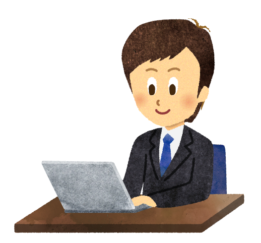 【無料素材】デスクでパソコン作業をする男性のイラスト