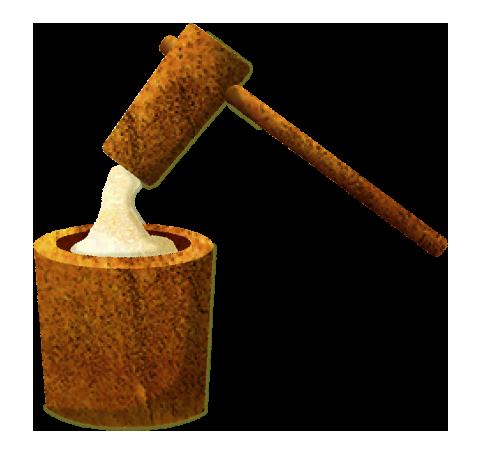 【無料素材】餅つき(臼と杵)のイラスト