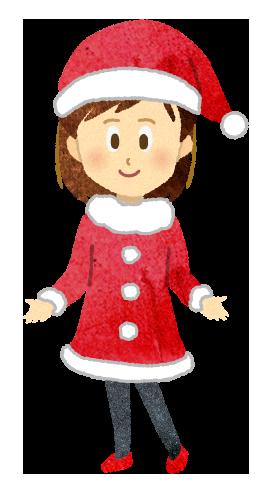 【無料素材】サンタクロースのコスプレをする女性のイラスト