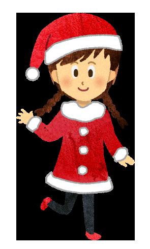 【無料素材】サンタクロースの格好をした三つ編みの女の子のイラスト