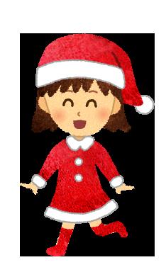 【無料素材】サンタクロースの格好をした女の子のイラスト