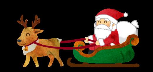 ソリにまたがってプレゼントを運ぶサンタクロースとトナカイのイラスト
