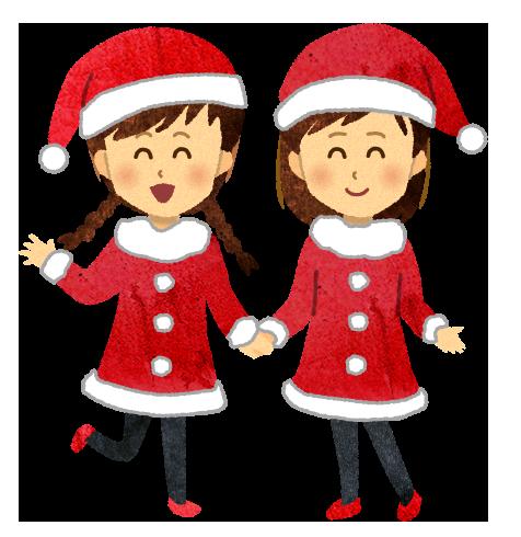 【無料素材】サンタコスプレの女の子達のイラスト